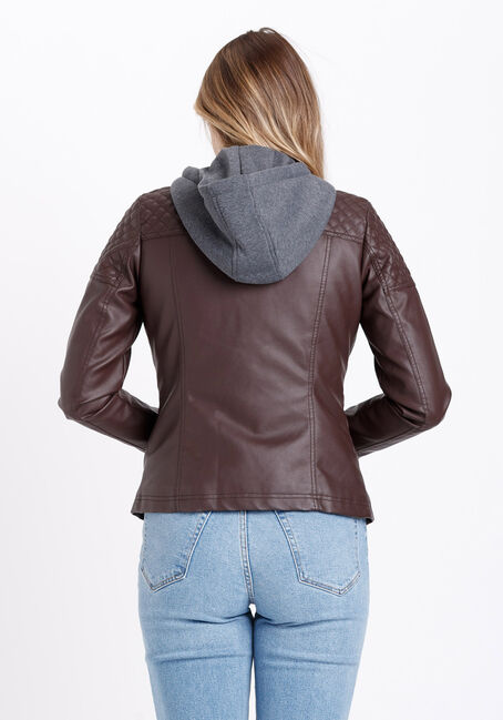 Women's Hooded Faux Leather Jacket, DARK BROWN, hi-res