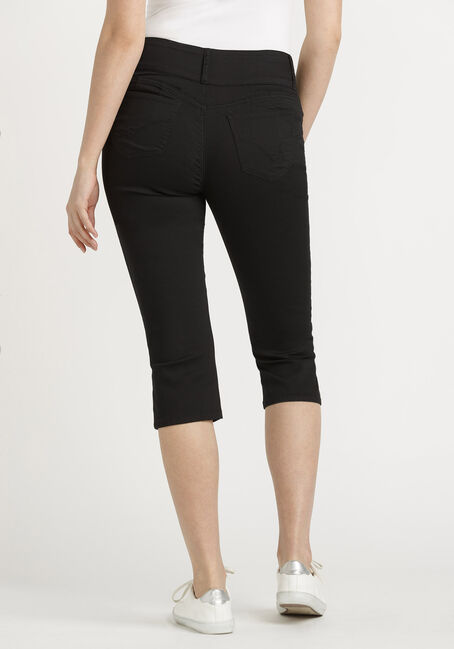 Women's 3 Button Black Skinny Capri, BLACK, hi-res