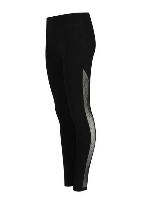 Ladies' Mesh Insert Legging, BLACK, hi-res