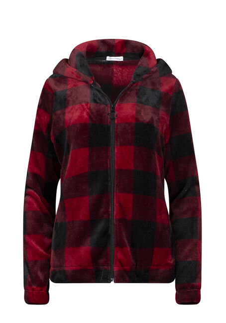 Women's Plush Buffalo Plaid Zip Front Hoodie