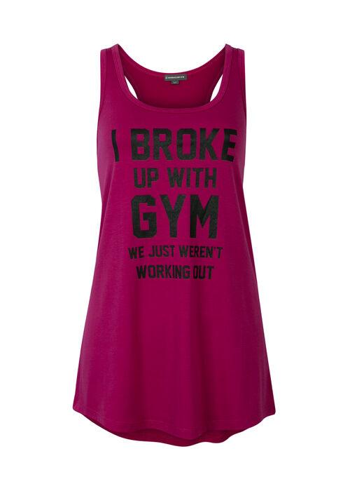 Ladies' Broke Up With Gym Tank, FUCHSIA, hi-res