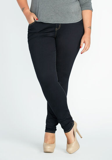 Women's Plus Size Clean Wash Skinny Jeans, DARK WASH, hi-res