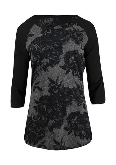 Women's Floral Print Baseball Tee, GREY/BLACK, hi-res