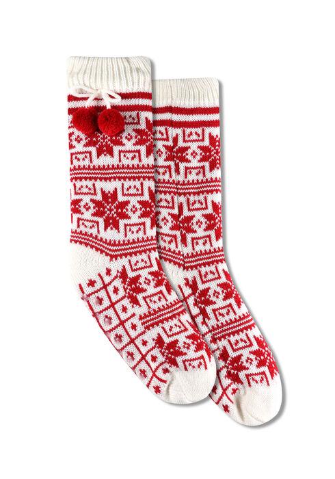 Ladies' Nordic Slipper Socks, RED, hi-res