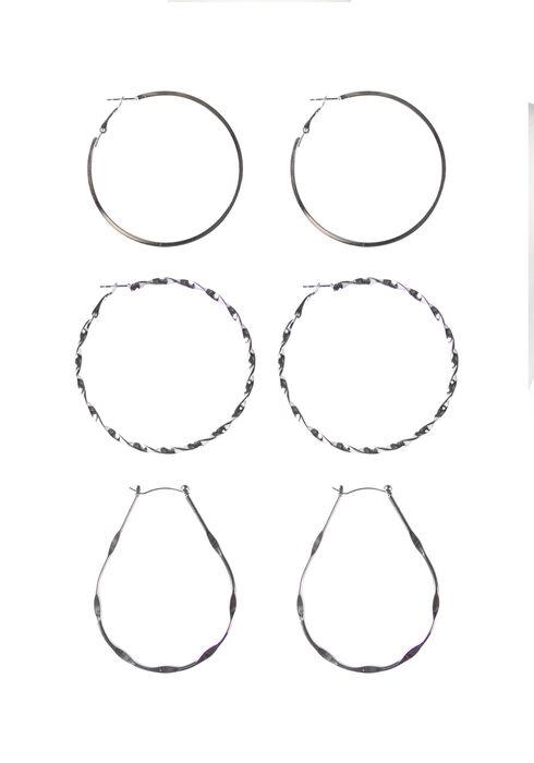 Ladies' Trio Hoop Earring Set, SHINY SILVER, hi-res
