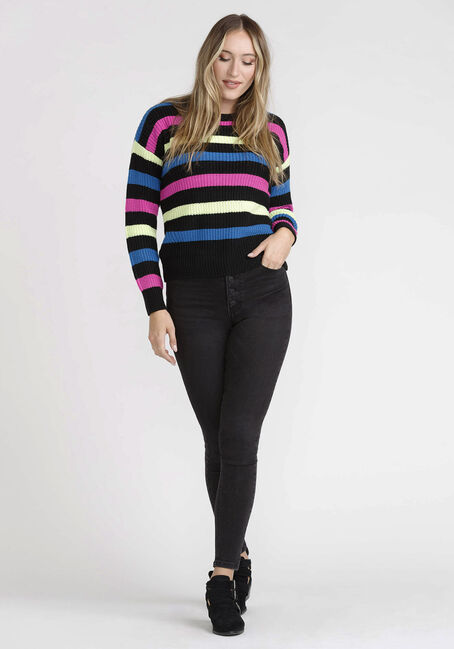 Womens' Stripe Sweater, BLACK, hi-res