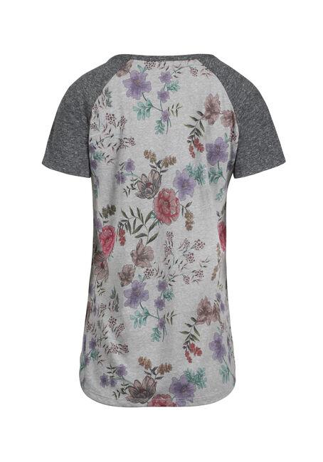 Women's Floral Print Baseball Tee, HEATHER GREY, hi-res