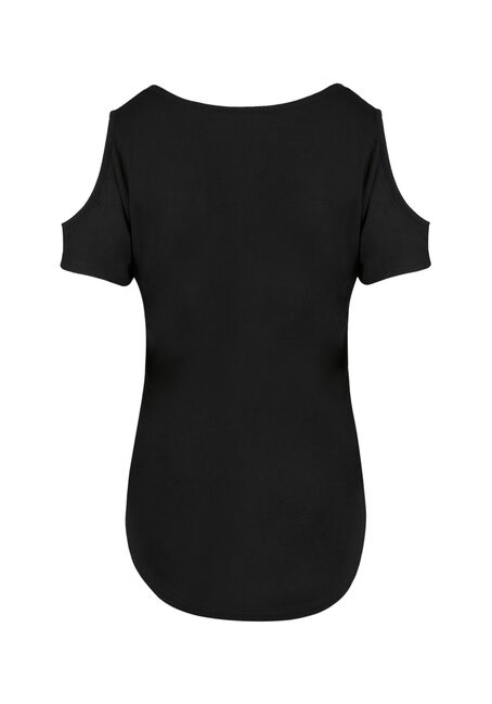 Ladies' Whiskey Cold Shoulder Tee, BLACK, hi-res