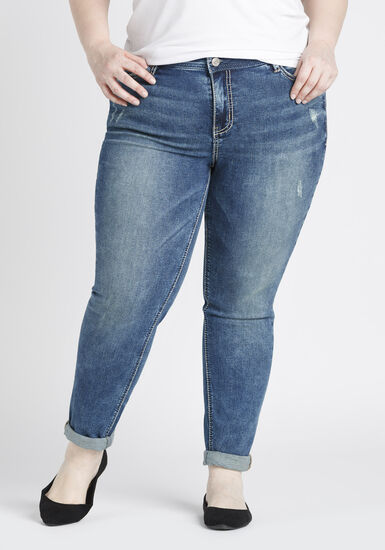 Women's Plus Size Girlfriend Jeans, DARK WASH, hi-res