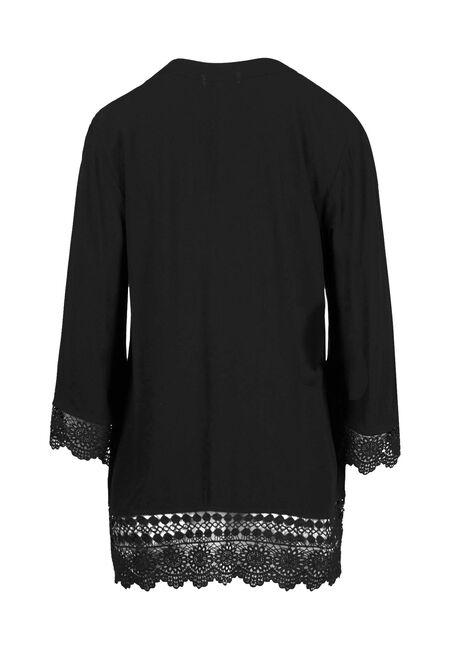 Women's Crochet trim Kimono, BLACK, hi-res