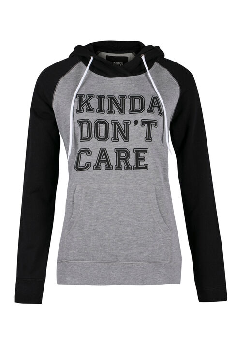 Ladies' Dont Care Hoodie, CHARCOAL, hi-res