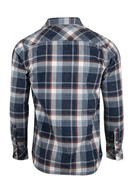 Men's Relaxed Acid Wash Plaid Shirt, BLUE, hi-res