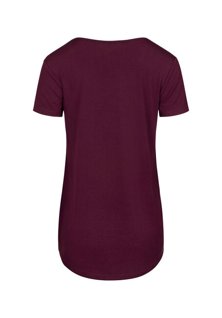 Women's Mandala Scoop Neck Tee, BURGUNDY, hi-res