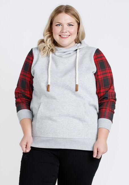 Women's Plaid sleeve Popover Hoodie