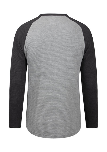 Men's Baseball Rib Knit Sweater, GREY, hi-res