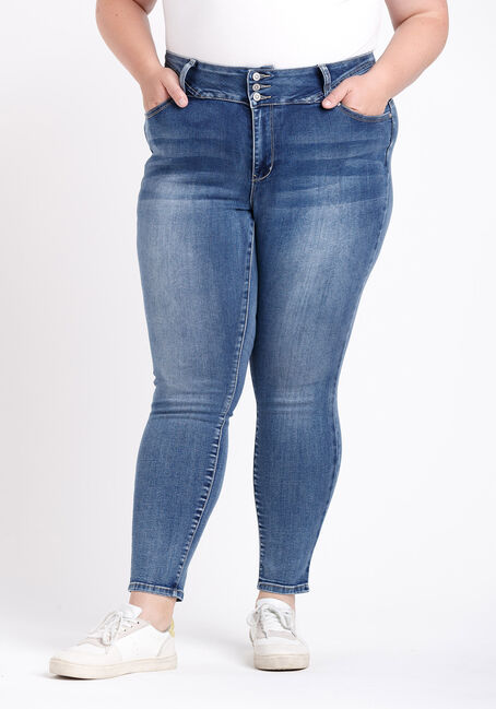Women's Plus 3 Button High Rise Skinny Jeans
