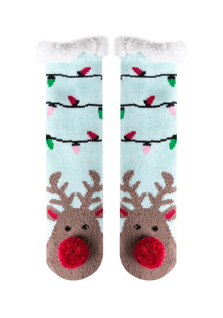 Ladies' Reindeer Slipper Socks, PALE BLUE, hi-res