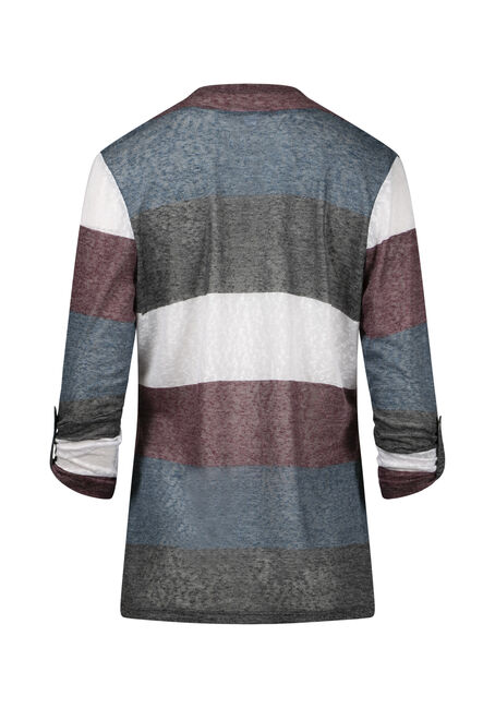 Women's Roll Sleeve Striped Cardigan, TEAL/PLUM, hi-res