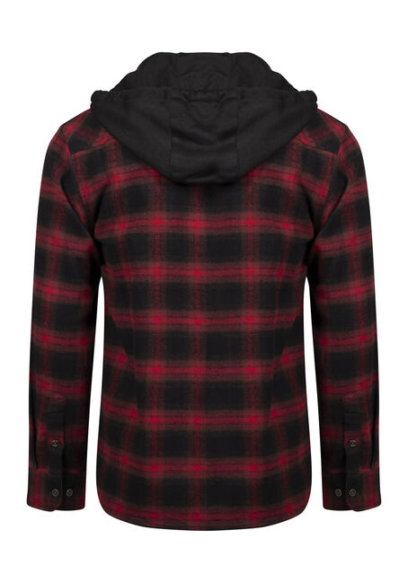 Men's Hooded Flannel Shirt, RED, hi-res