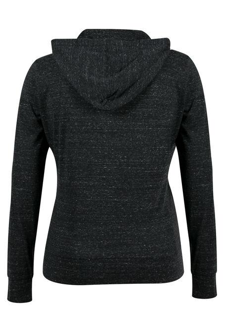 Ladies' Plus Size Love Zip Hoodie, MELANGE BLACK, hi-res