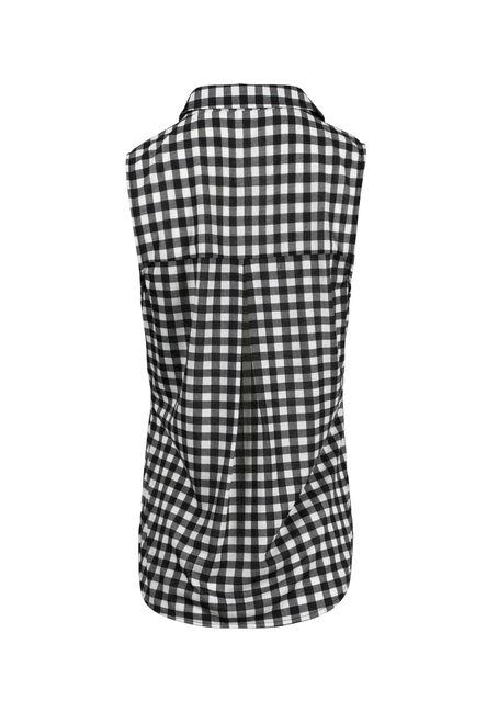 Women's Knit Gingham Shirt, BLK/WHT, hi-res