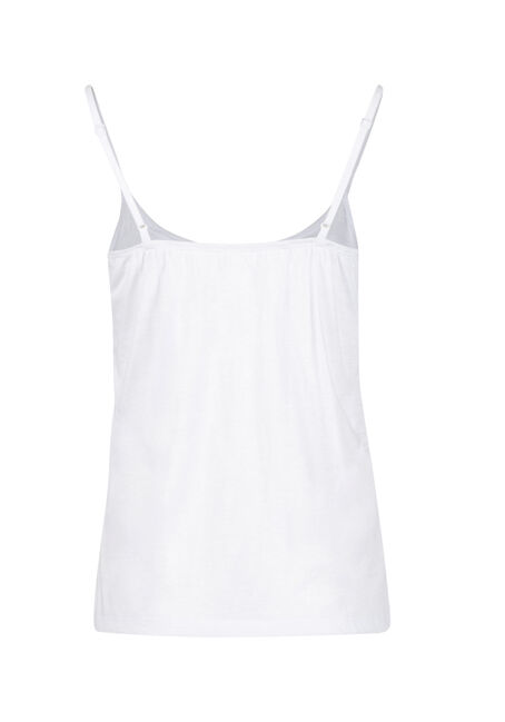 Women's Knot Front Ruffle Tank, WHITE, hi-res