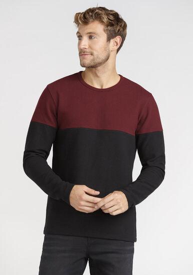 Men's Colour Block Rib Knit Tee, VINEYARD WINE, hi-res