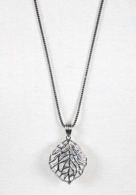 Ladies' Rhinestone Leaf Necklace, RHODIUM, hi-res