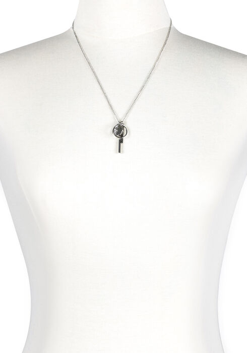 Women's Geometric Charm Necklace, SILVER, hi-res