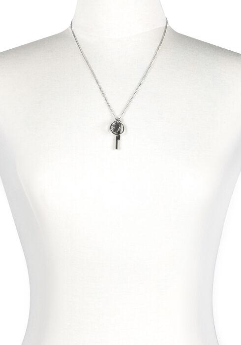 Ladies' Geometric Charm Necklace, SILVER, hi-res