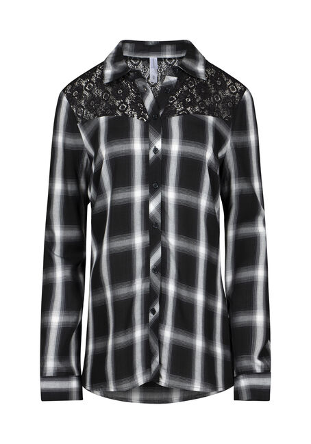 Women's Lace Trim Plaid Shirt