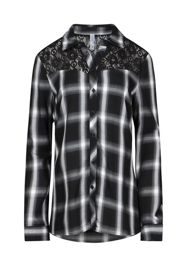 Women's Lace Trim Plaid Shirt, BLACK, hi-res