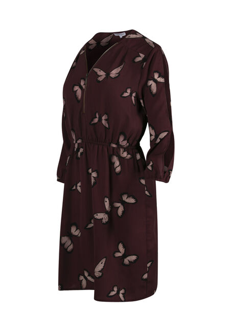 Women's Butterfly Cold Shoulder Shirt Dress, DP Orchid Butterfly, hi-res