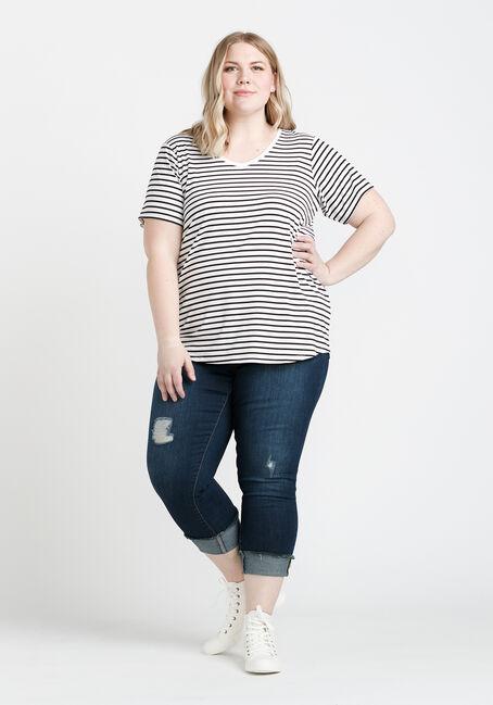 Women's Striped Tee, WHITE, hi-res
