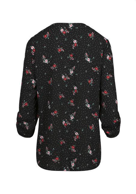 Women's Floral Lace Up Top, BLACK, hi-res