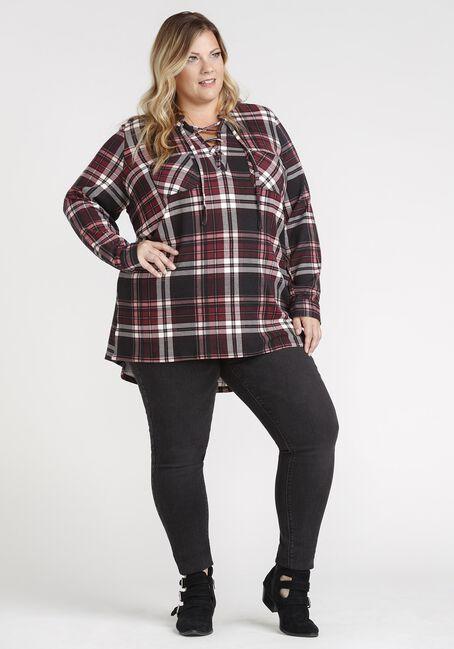 Women's Lace Up Knit Plaid Tunic Shirt, BURGUNDY, hi-res