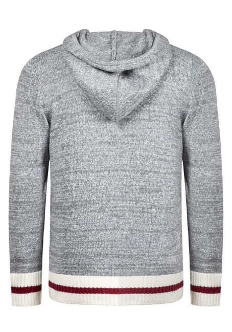 Men's Hooded Cabin Sweater, HEATHER GREY, hi-res