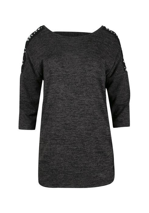 Ladies' Crochet Insert Dolman Top, BLACK, hi-res
