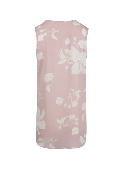 Women's Cage Neck Floral Tank, ROSE QUARTZ, hi-res