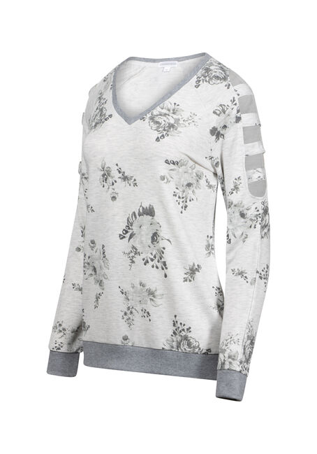 Women's Floral Ladder Sleeve Fleece, HEATHER GREY, hi-res