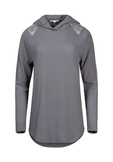 Women's Lace Insert Hooded Waffle Top, GREY, hi-res