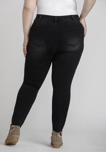 Women's Plus Size Black Distressed Skinny Jeans, BLACK, hi-res