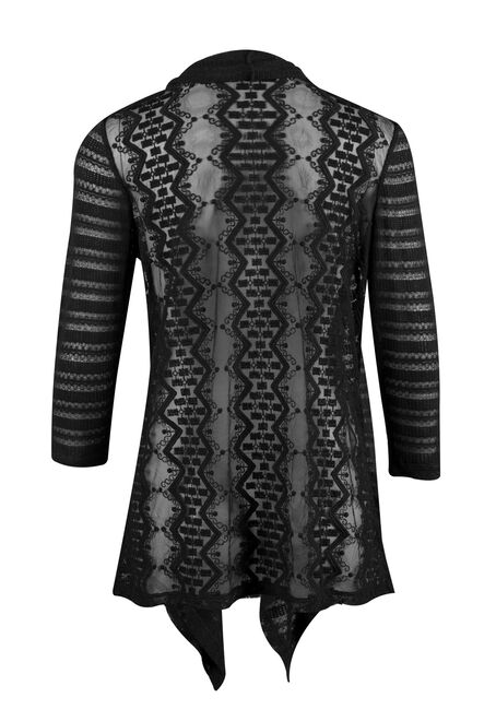 Ladies' Drape Front Lace Open Cardigan, BLACK, hi-res