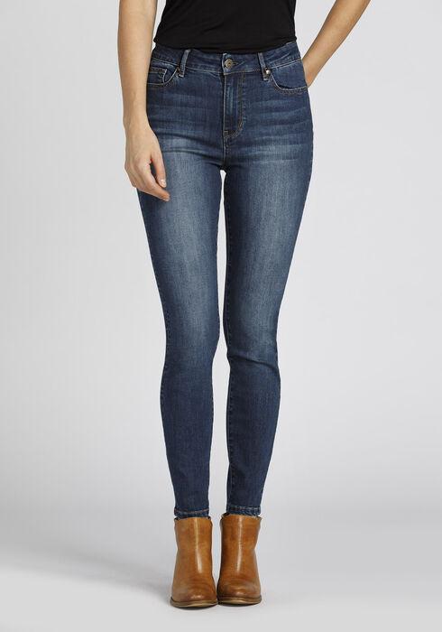 Ladies' Retro High Rise Skinny Jeans, DARK WASH, hi-res