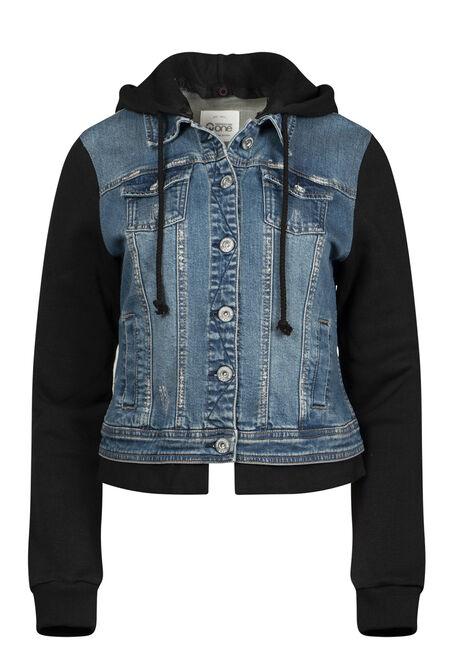 Women's Knit Sleeve Jean Jacket