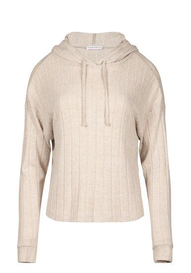 Women's Hooded Wide Rib Top, OATMEAL, hi-res