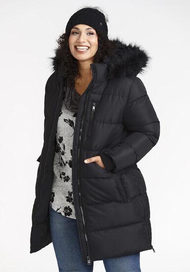 Women's Long Puffer Jacket, BLACK, hi-res