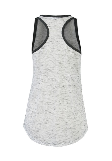 Ladies' Henley Racerback Tank, IVORY/ CHAR, hi-res