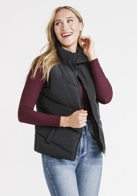 Women's Puffer Vest, BLACK, hi-res