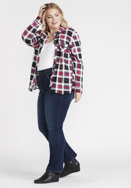 Women's Knit Plaid Shirt, BRIGHT PINK, hi-res